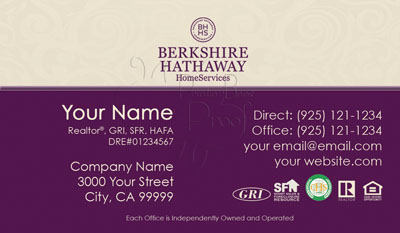 Berkshire Hathaway Home Services Business Cards 1000